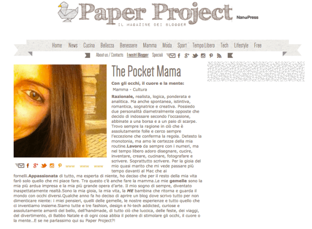 post The Pocket Mama sul magazine Paper Project