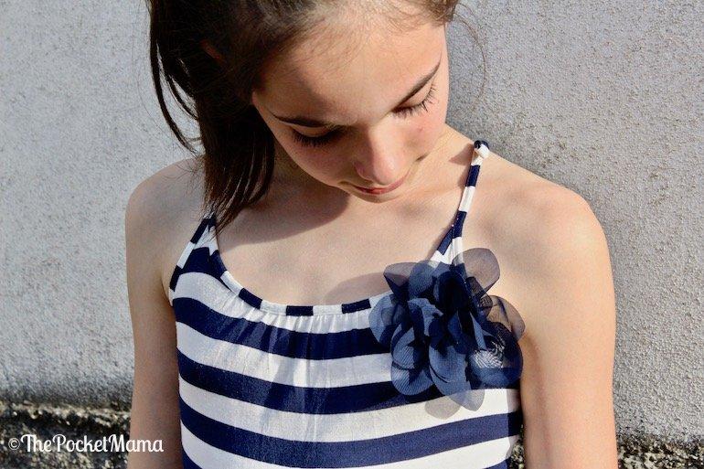 vestito a righe H&M con fiore in tulle