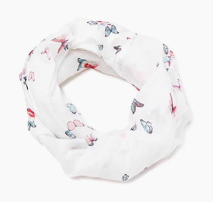 foulard bianco con farfalle esprit