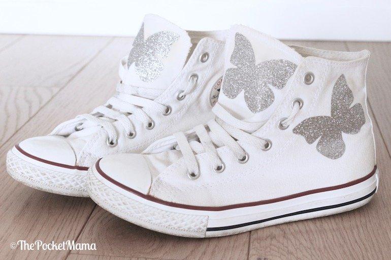 All star personalizzate con farfalle glitter
