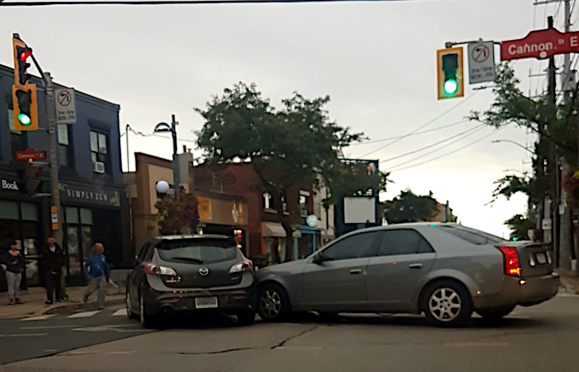 Collision at the intersection of Ottawa and Cannon.