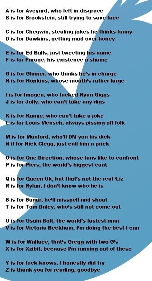 The AZ Of Twitter Celebrities A Poem The Poke