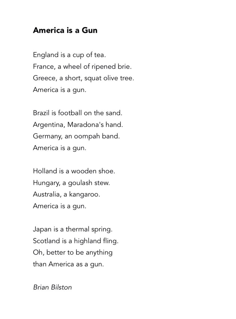 A rather poignant poem entitled America is a Gun The Poke