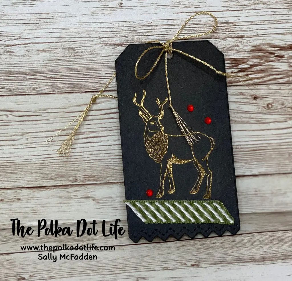 Gold embossed image of a deer using the Wished & Wonder stamp set by Stampin' Up