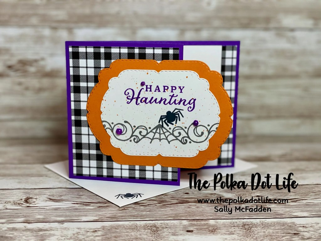 A Halloween greeting card made using Stampin' Up products.