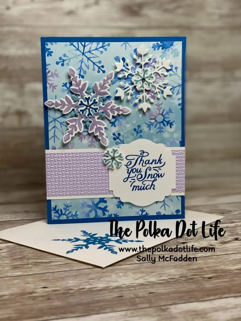 Stampin' Up products are used to make this bright blue holiday thank you card.