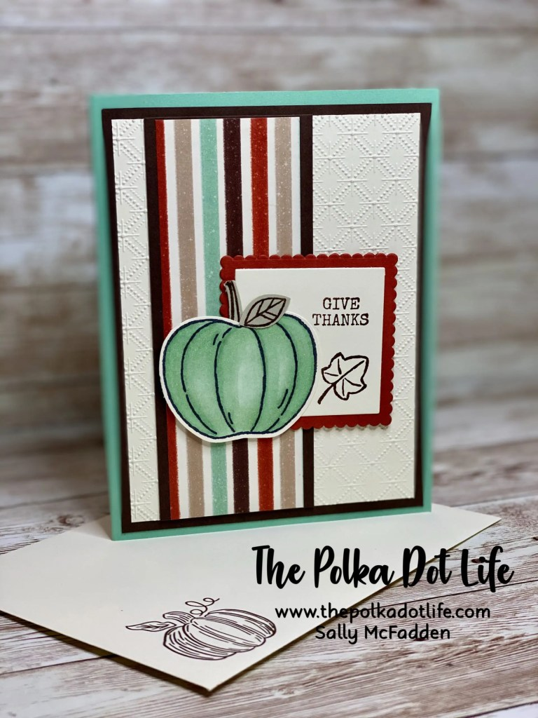 A standard A2 size greeting card in Pool Party and uses Stampin' Up Harvest Hellos stamp set