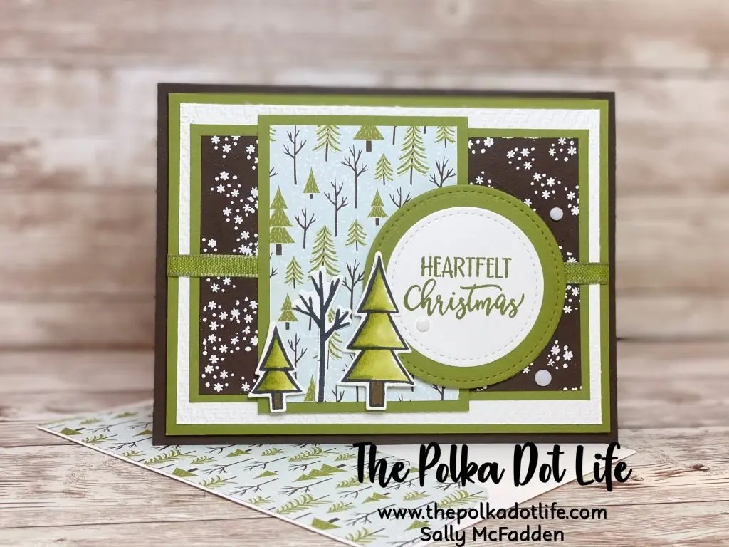 A handmade Christmas card that is Early Expresso brown and Old Olive green.  It features a woodsy winter scene.  The card is made with Stampin' Up products.