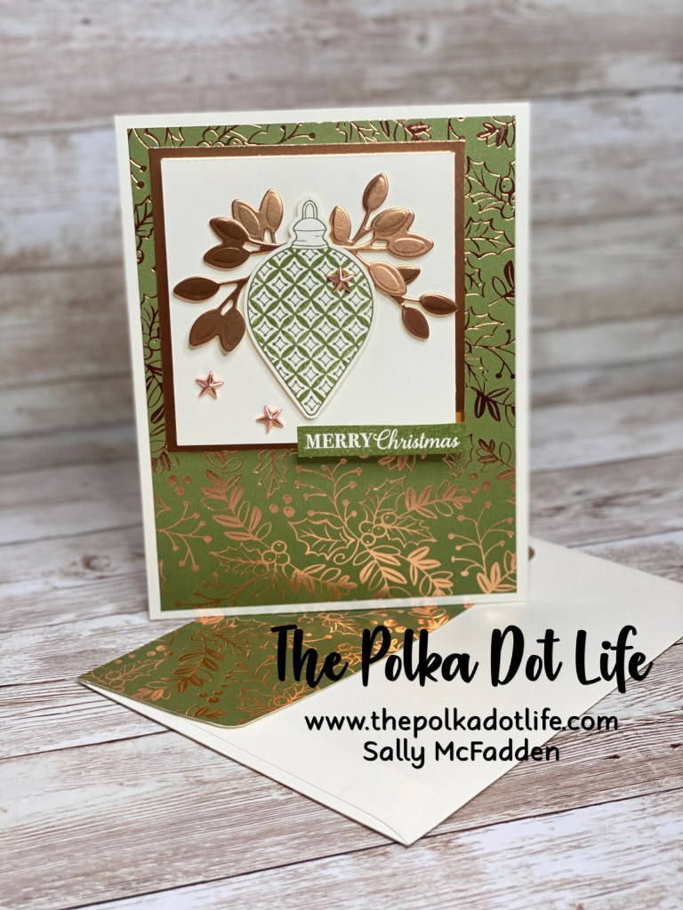 An elegant Christmas card.  It is Mossy Meadow and Copper Foil.  This fun fold is made using Stampin' Up products.