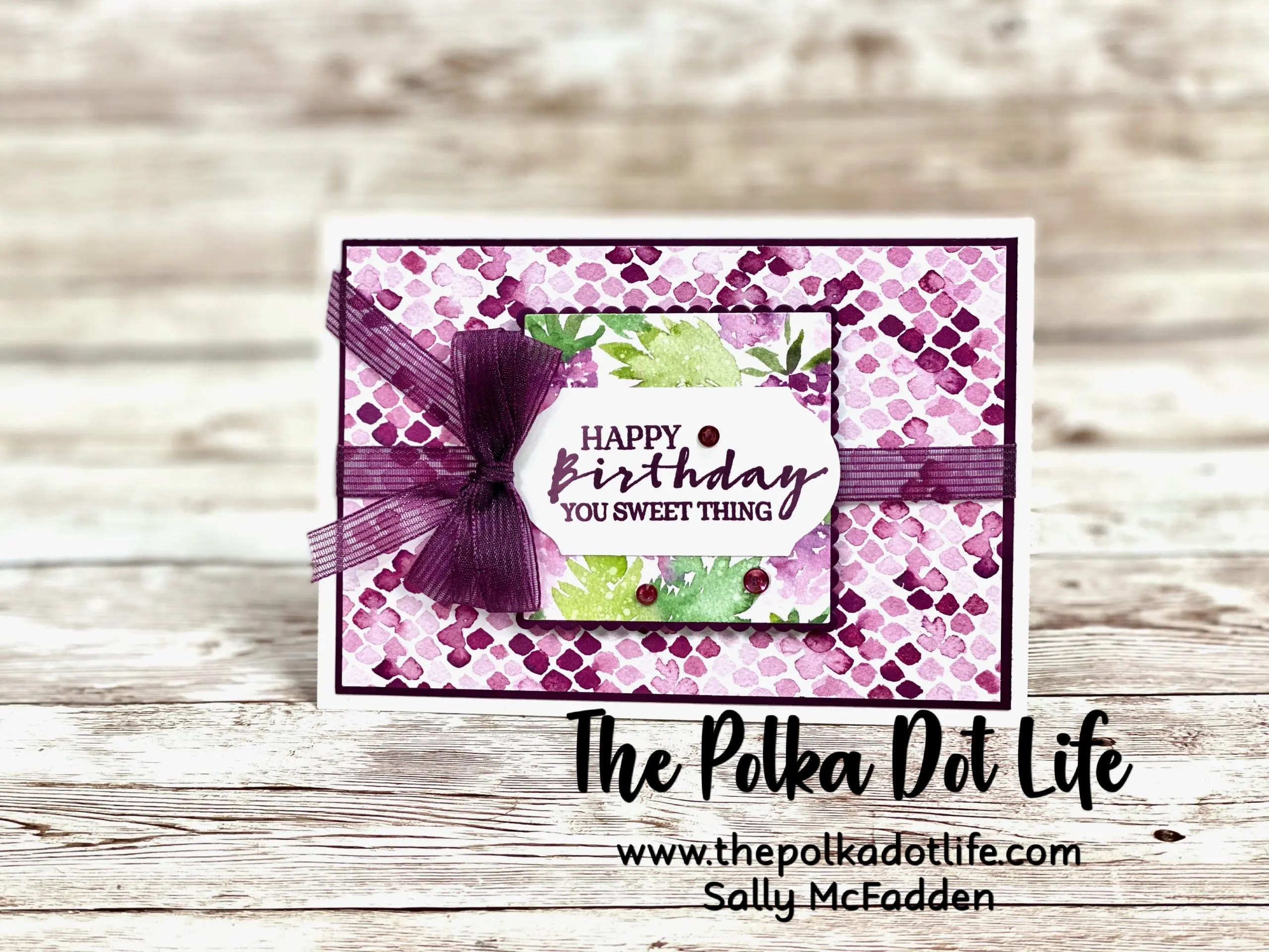 A Greeting Card that was handmade.  It features the Berry Blessings & Berry Delightful products by Stampin' Up.