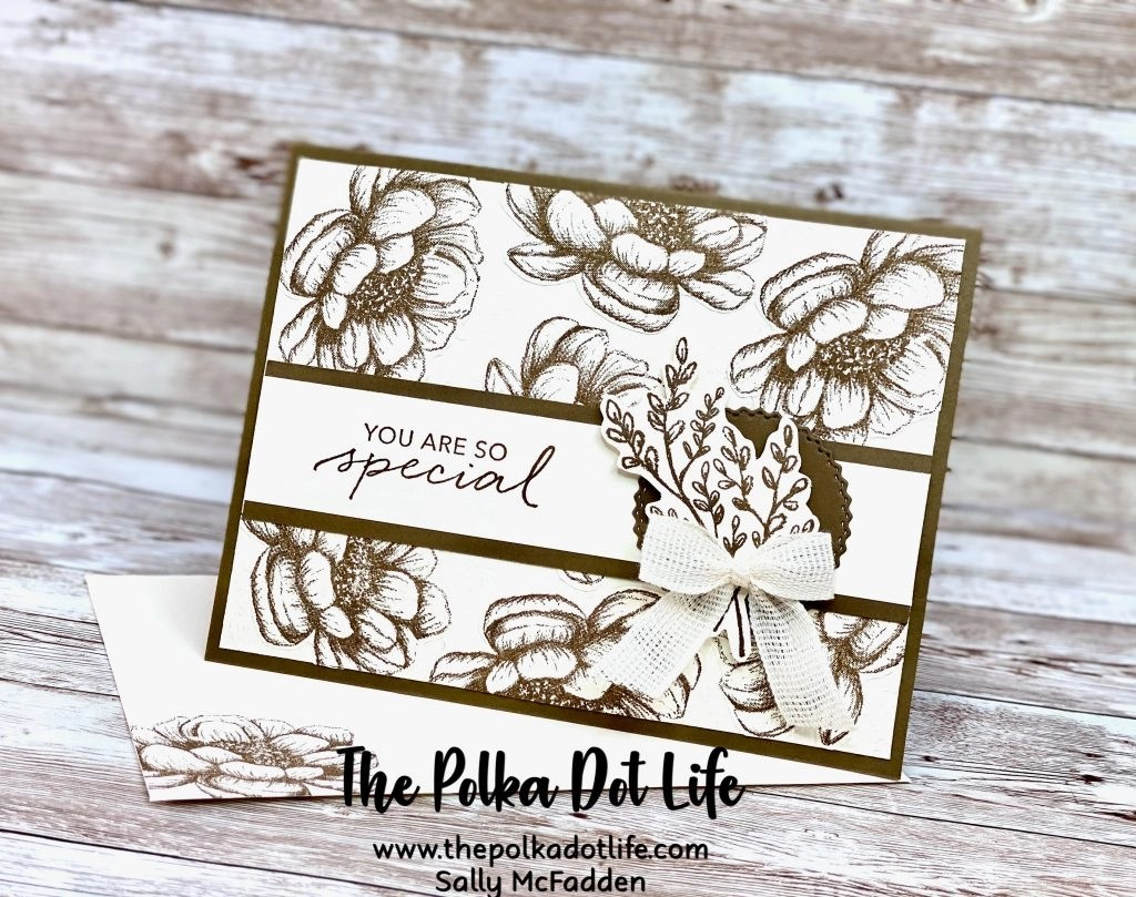 This is an image of a greeting card that was made using the Tasteful Touches Bundle by Stampin' Up.
