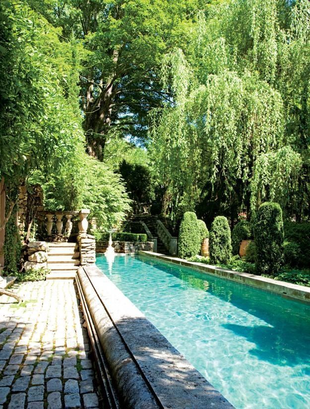 Narrow-and-long-pool Narrow Backyard Party Ideas on retaining wall ideas, narrow backyard small lawn, small garden ideas, product landscape ideas, patio ideas, narrow apartment backyard, gravel garden path ideas,