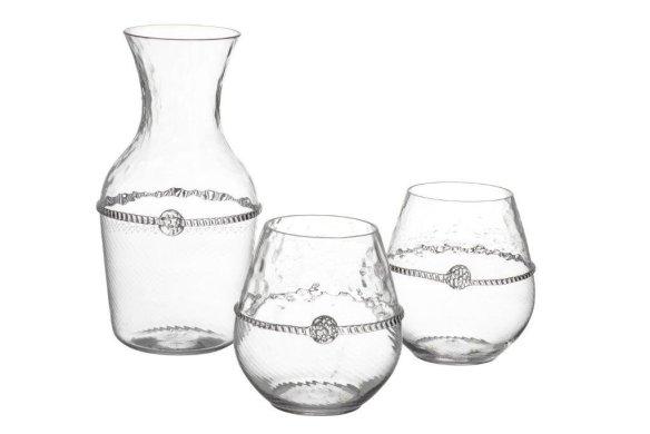 Juliska Carafe and wine glasses