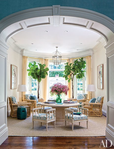 Miles Redd California Home with large fiddle figs via AD