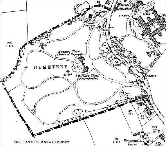 1898 Ordnance Survey Map of the cemetery layout