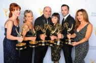 SNL: Sarah Egan, Melanie Demitri, Louie Zakarian, Amy Tagliamonti, Jason Milani, and Daniela Zivkovic backstage at the 2015 Creative Arts Emmy Awards.
