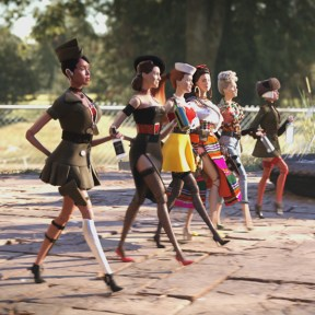 (L to R) G.I. Julie (JANELLE MONÁE), Suzette (LESLIE ZEMECKIS), Nicol (LESLIE MANN), Carlala (EIZA GONZÁLEZ), Roberta (MERRITT WEVER) and Anna (GWENDOLYN CHRISTIE) in Welcome to Marwen, the miraculous true story of one broken man's fight as he discovers how artistic imagination can restore the human spirit.