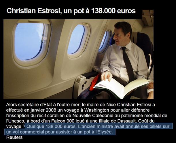 Estrosi et le jet à 138 888 euros en 2008.