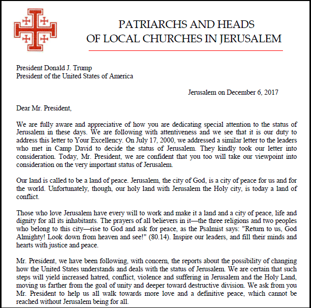 Lettre Autorité chrétienne Jérusalem à Trump 2 - ThePrairie.fr !