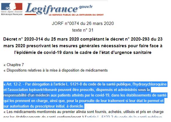 Décret n° 2020-314 du 25 mars 2020