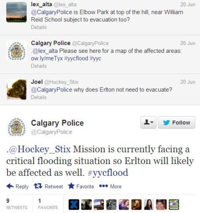 Calgary Police tweeted flood updates
