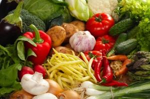 Fresh Vegetables ingredients of food colored photo