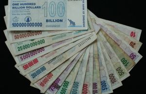 Zimbabwe Dollars ranging from 10 to 100 billion printed within a one year period. The magnitude of the currency scalars signifies the extent of the hyperinflation.