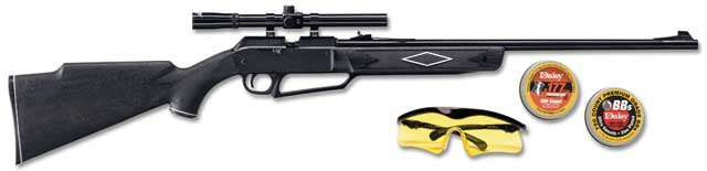880 air rifle kit includes safety glasses, 4x15-millimeter scope with rings, 500 Daisy pellets, and 750 BBs - $60