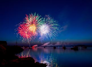 Fireworks over the sea