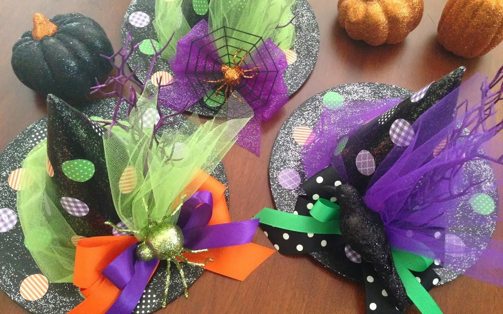 Glittered Halloween Witch Hats