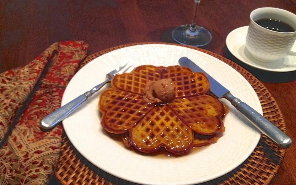 Pumpkin Spice Waffles with Cinnamon Honey Butter