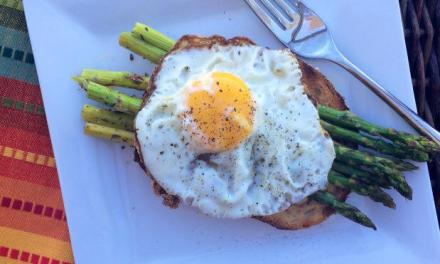 Olive Oil Fried Egg and Roasted Asparagus Breakfast Sandwich