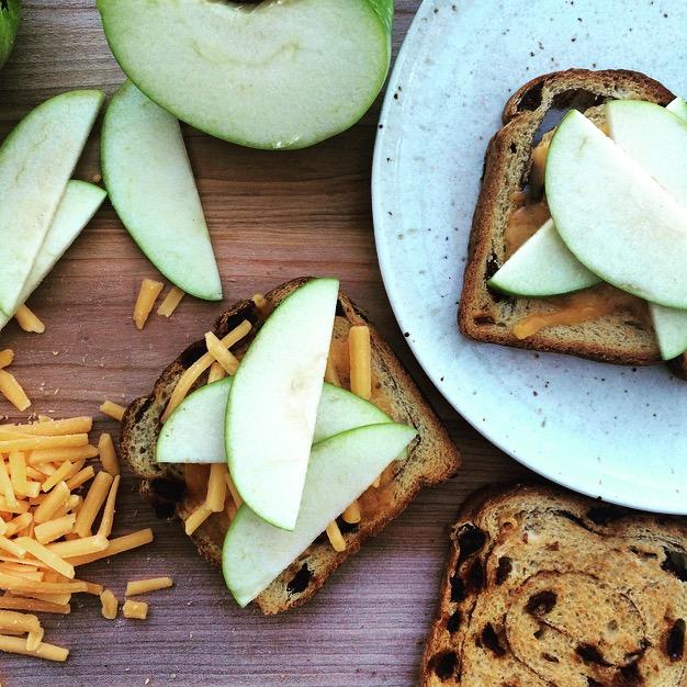 Cinnamon-Raisin Toast with Cheddar and Apple