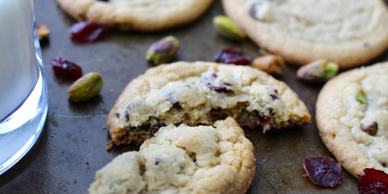 Dark Chocolate Cranberry and Pistachio Cookies