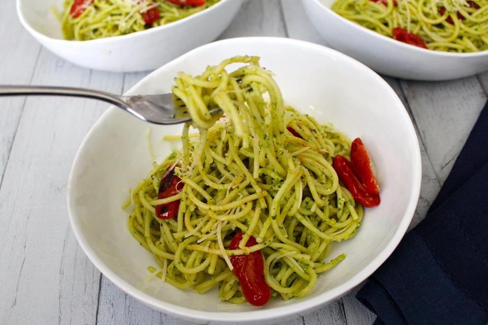 Pesto Spaghetti with Roasted Tomatoes