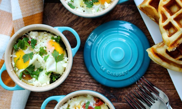 Eggs en Cocotte, with Sharp Cheddar Cheese and Chive Waffles