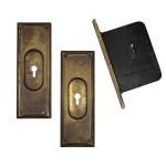 Complete Antique Brass Pocket Door Hardware Set For Single Door C 1886