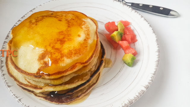 Tender, moist and fluffy homemade buttermilk pancake