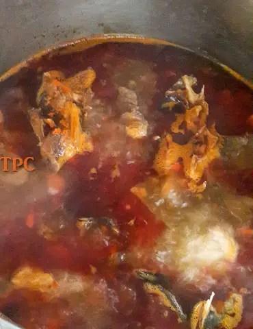 soup broth for okro soup, okra soup