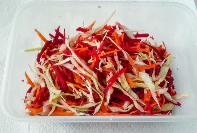 Pretty, sweet, crunchy, earthy, beetroot coleslaw