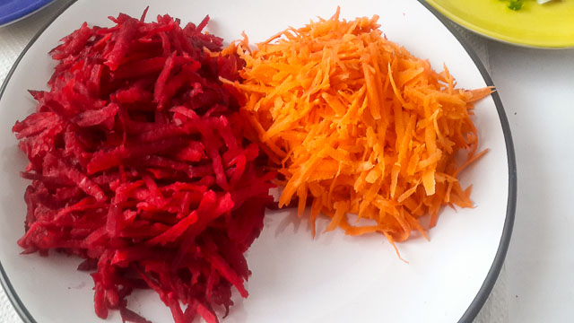 shredded beetroot and carrot for beetroot coleslaw