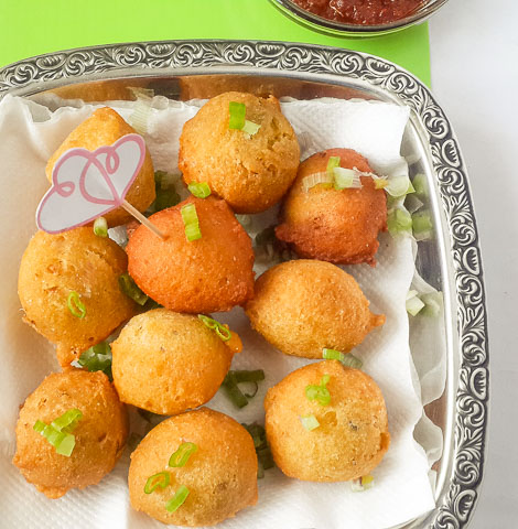 golden, crispy and soft hush puppies