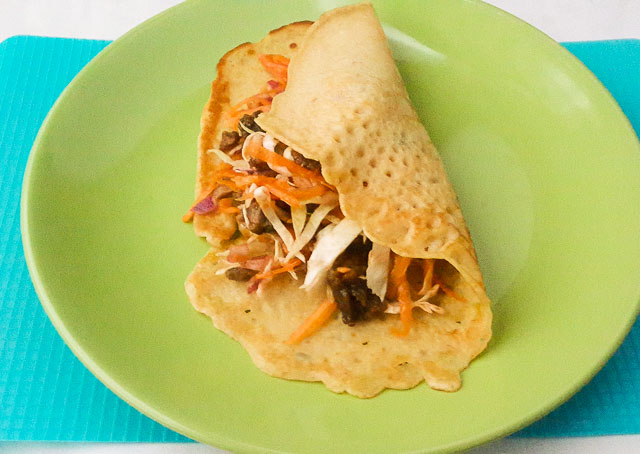 Soft, sweet and spicy diet-nigerian pancake filled with vegetables