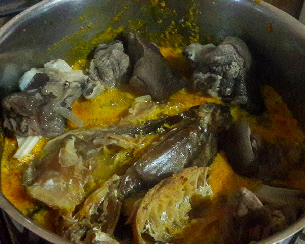 meat and dry fish added to ofe awa, awa soup