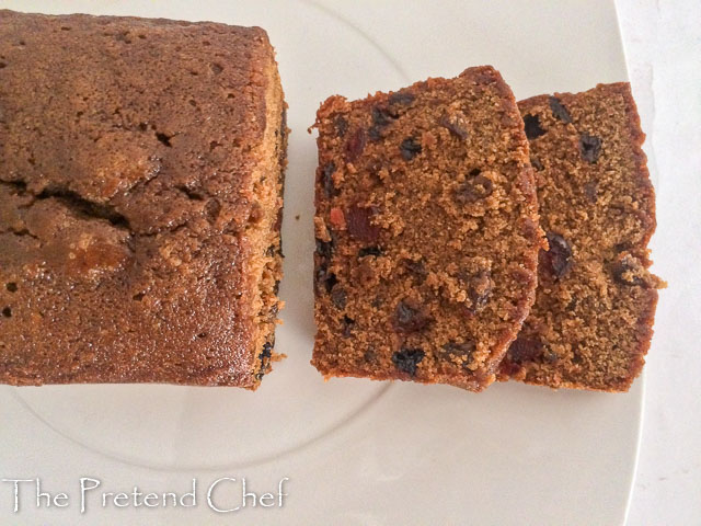 moist fruit cake made in a loaf tin and sliced