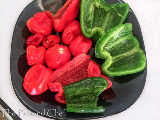peppers cleaned for nigerian peppered gizzard