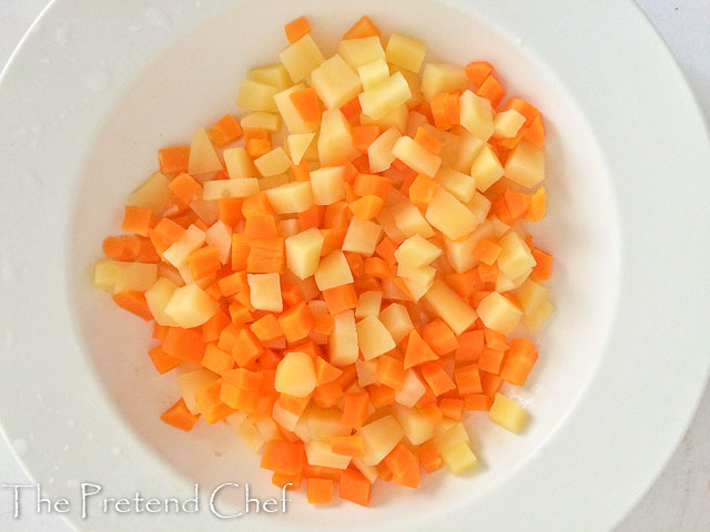 boiled cubed carrot and potato Nigerian vegetable salad