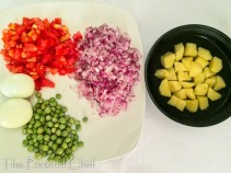 vegetables prepped for simple coconut curry sauce