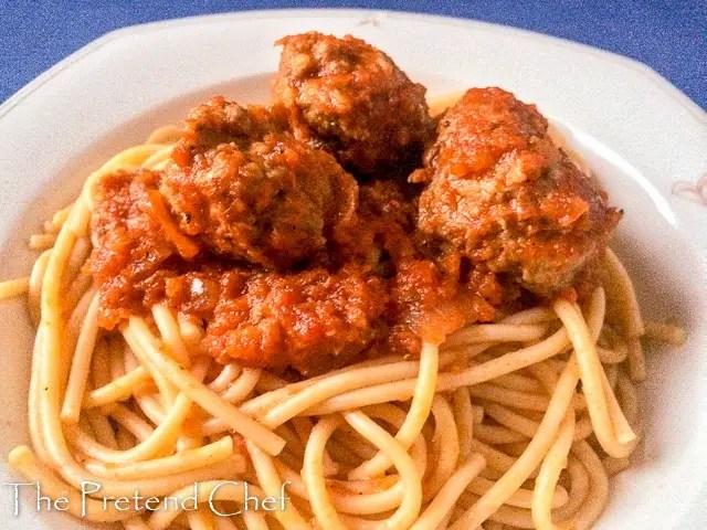spaghetti meatballs tomato sauce
