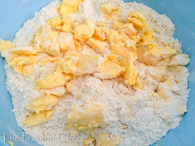 butter and flour for Easy pie dough